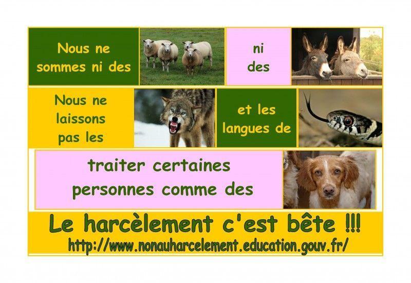 catégorie-affiche-collège-65-les-élèves-du-collège-Simone-Signoret-Aubevoye-académie-de-Rouen-Le-harcèlement-cest-bête-800x550