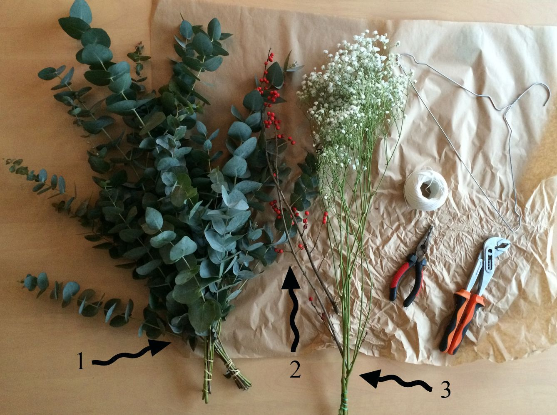 Feuille D Eucalyptus Bouquet diy : une couronne de noël pas kitsch - elle décoration