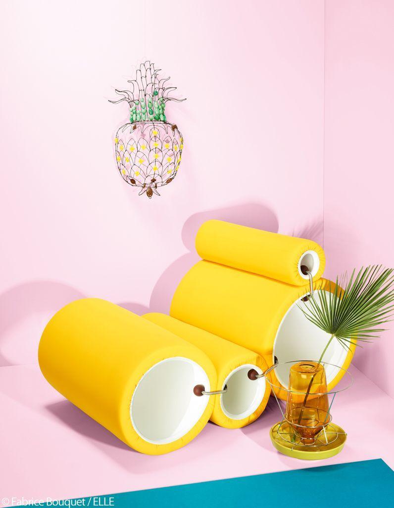 fauteuil jaune fluo