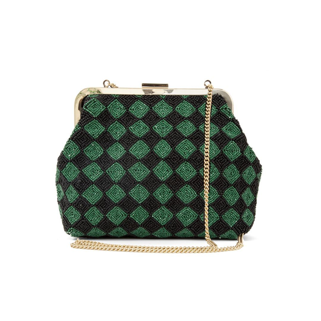 Flore - Beaded Black & Green Checker w Chain mock-up - F18 SAMPLE