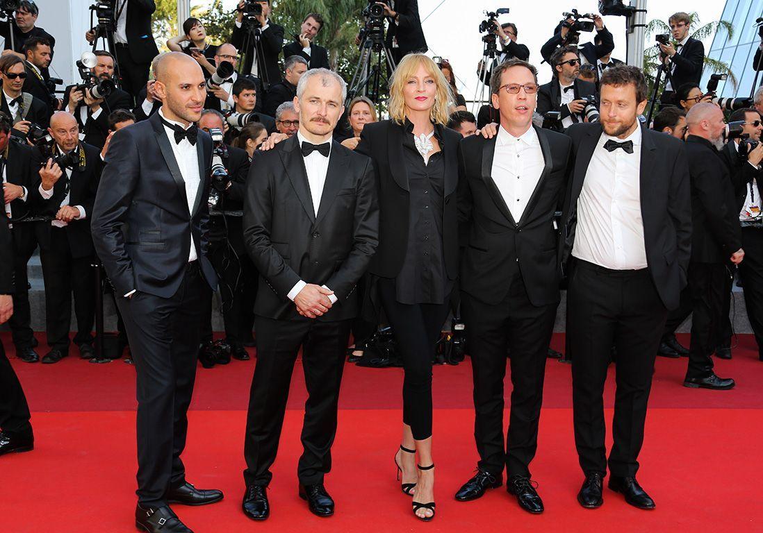 Les membres du jury Un Certain Regard Joachim Lafosse, Reda Kateb, jury president Uma Thurman, Karel Och et Mohamed Diab