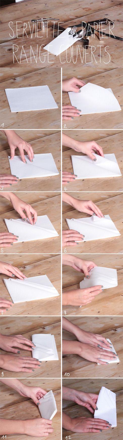Pliage Serviette Papier Avec Couverts pliage serviette range couvert : découvrez notre pliage de