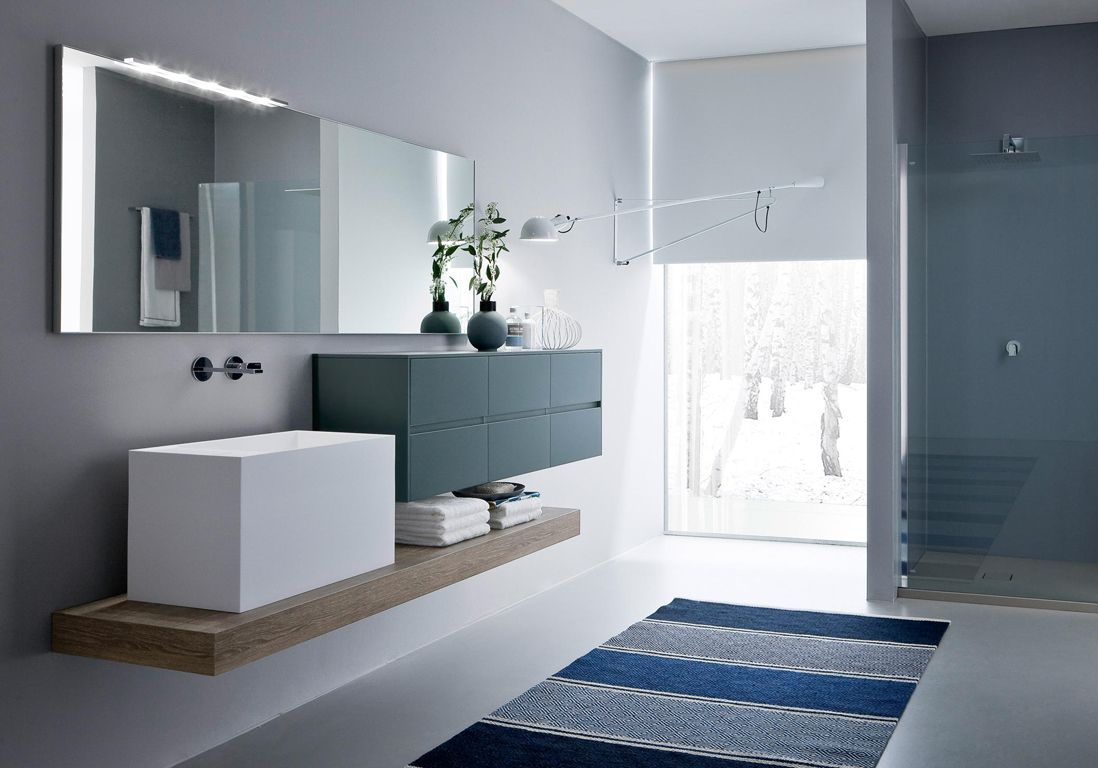 deco salle de bain bleu et gris. Black Bedroom Furniture Sets. Home Design Ideas