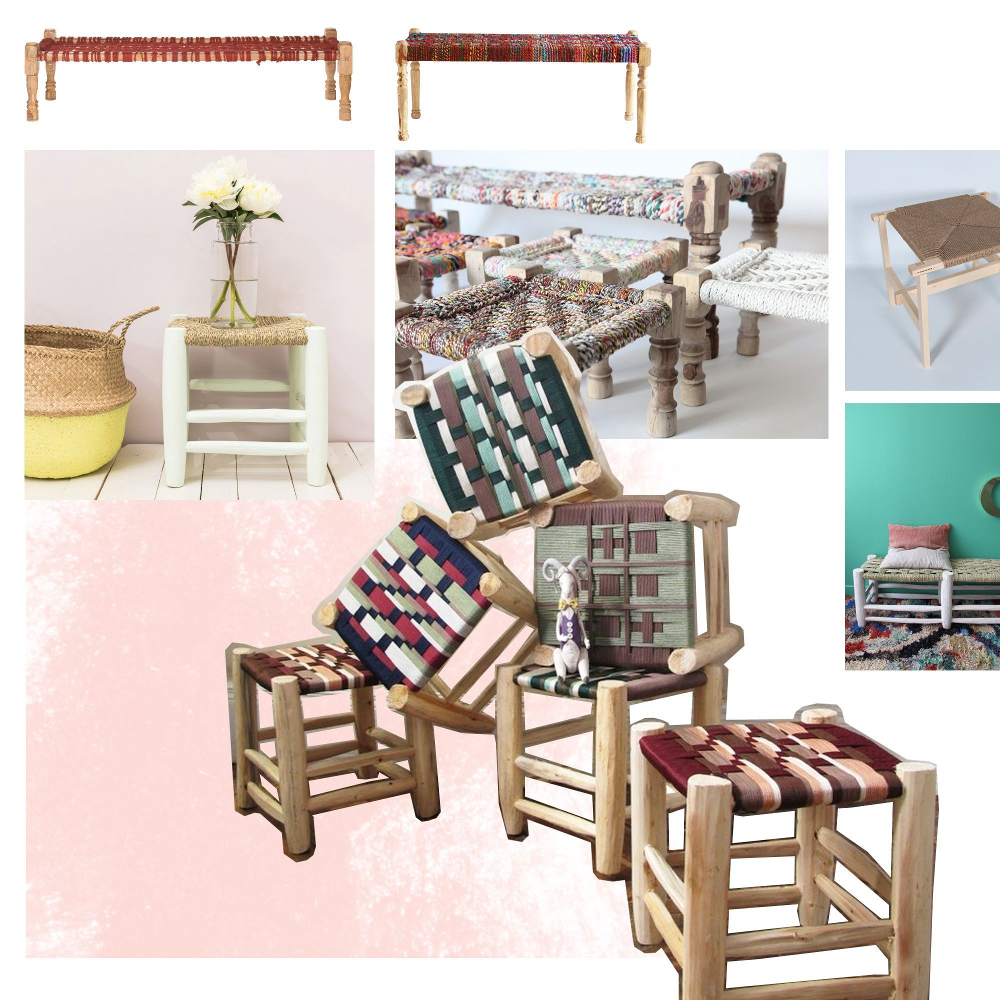 banc tress le banc et le tabouret tress s la touche. Black Bedroom Furniture Sets. Home Design Ideas