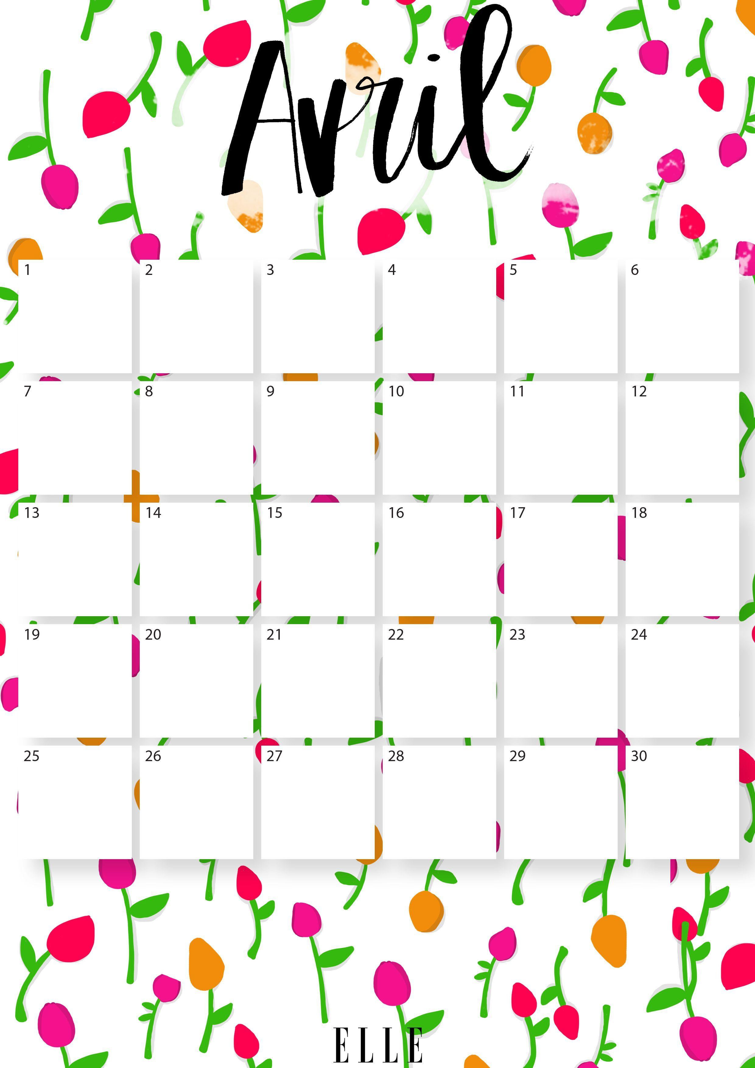 Avril_calendrier