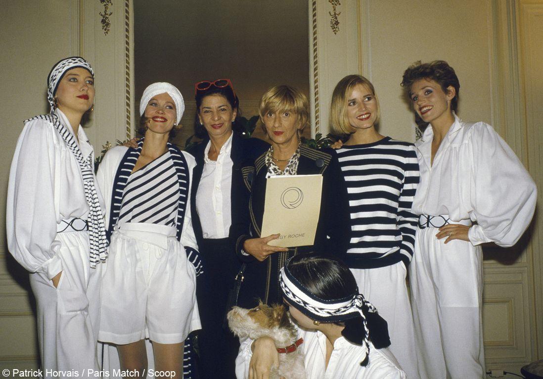 Peggy Roche présente sa collection avec Françoise Sagan en 1985