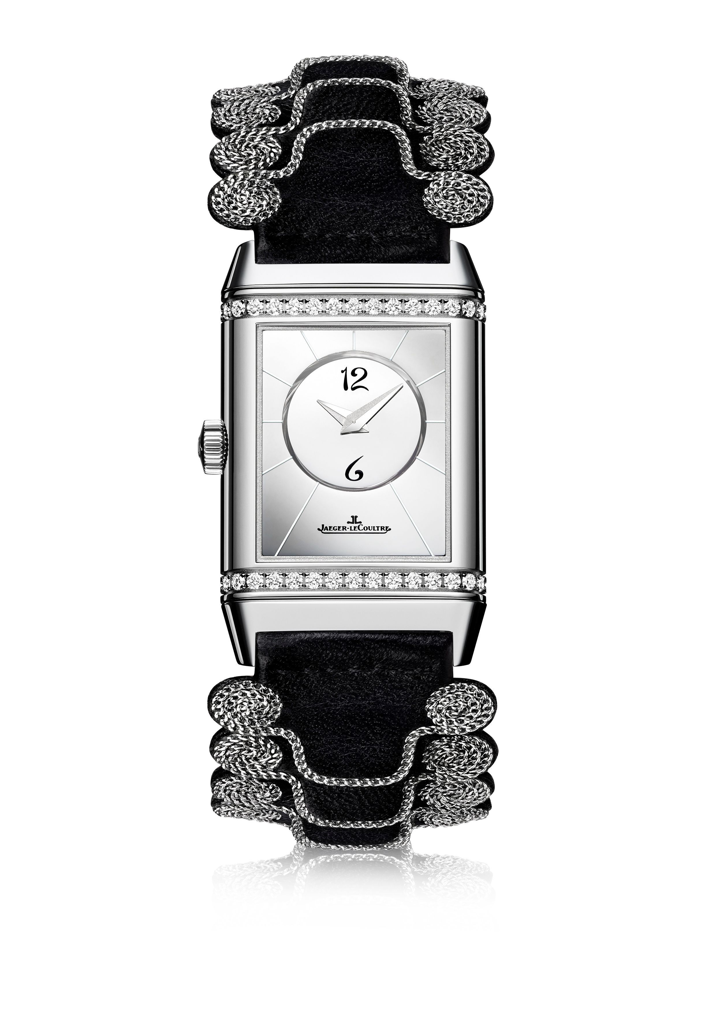 Reverso Classic Duetto_Officer strap and Applicollé Miroir dial by Christian Louboutin_BLACK