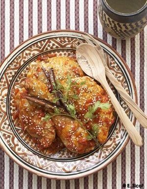 Tajine de poulet aux tomates