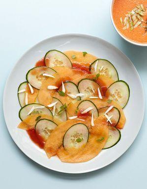 Carpaccio melon-concombre