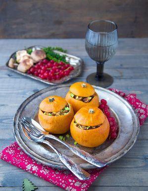 Courges pommes d'or farcies au seitan et marrons