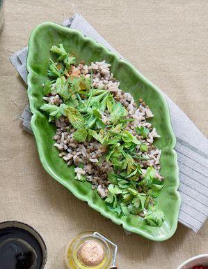 Lentilles et risotto, herbes fraîches