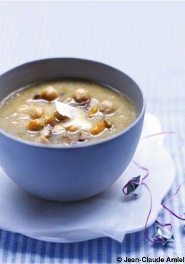 Soupe de châtaignes et pois chiches