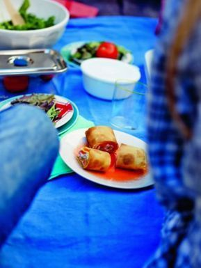 Wraps au chèvre, saumon et fraises