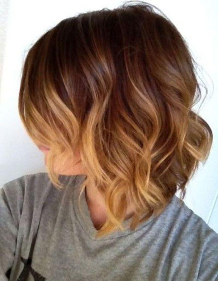 Carré plongeant ombré hair | Short hair waves, Short wavy haircuts, How to curl short hair