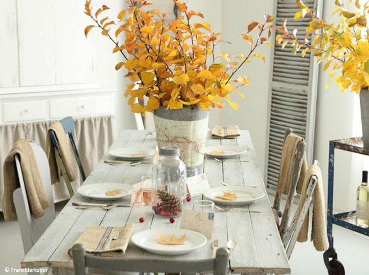 id es de d coration de table d 39 automne. Black Bedroom Furniture Sets. Home Design Ideas
