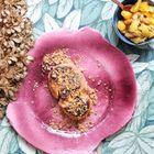 Foie gras chaud, crumble de spéculoos et chutney de kiwis