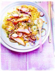 Lentilles jaunes, oignons rouges et haddock