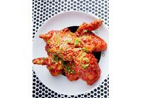 Poulet frit coréen, sauce piquante