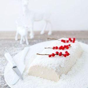 Bûche enneigée au tofu et lait de coco