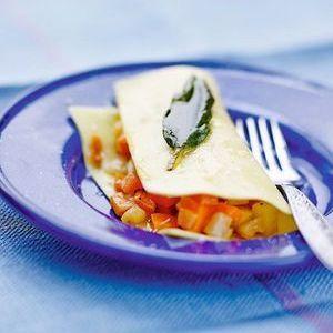 Lasagnes express aux petits légumes, huile à la sauge