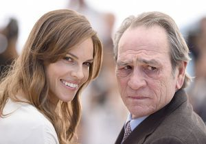 Tommy Lee Jones et Hilary Swank en photocall pour The Homesman