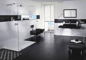 La salle de bains s'habille en noir et blanc