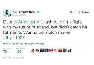 Buzz ou pub ? Elle retrouve sur Twitter l' homme de sa vie croisé en avion