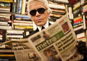 Karl Lagerfeld, rédacteur en chef de Métro en février 2012