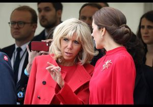 Brigitte Macron : en total look rouge Vuitton, elle fait sensation au Danemark