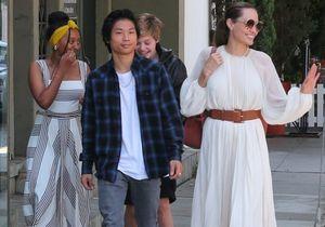 Angelina Jolie et ses enfants super lookés pour un déjeuner en famille