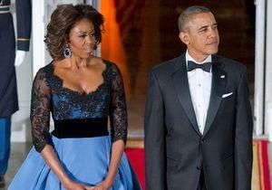 Le look du jour : Michelle Obama séduit François Hollande en Carolina Herrera