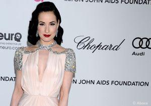 Dita Von Teese à la soirée Aids Foundation d'Elton John post-Oscars