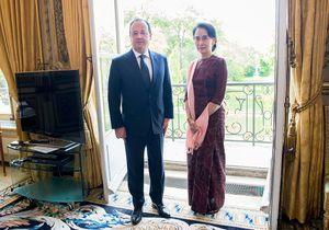 A l'Elysée, Aung San Suu Kyi demande le soutien de la France
