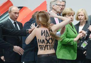 Allemagne : les Femen topless devant Vladimir Poutine