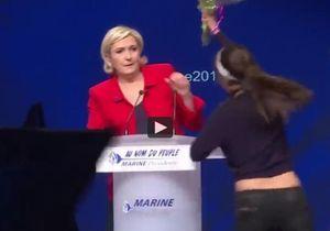 Deux Femen rappellent à Marine Le Pen que non, elle n'est pas « la candidate des femmes »