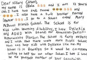 La réponse de Hillary Clinton à la lettre d'une adolescente dyslexique