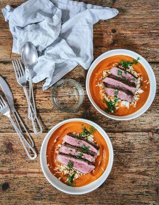 Soupe potimarron, boeuf et riz