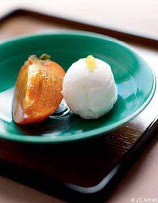 Sorbet au yuzu, kakis à la coque