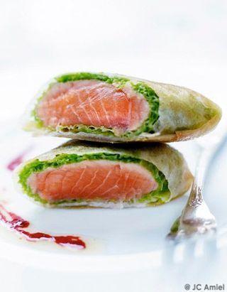 Croustillant de saumon frais au chou vert