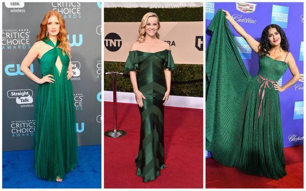 3. green dress red carpet trend