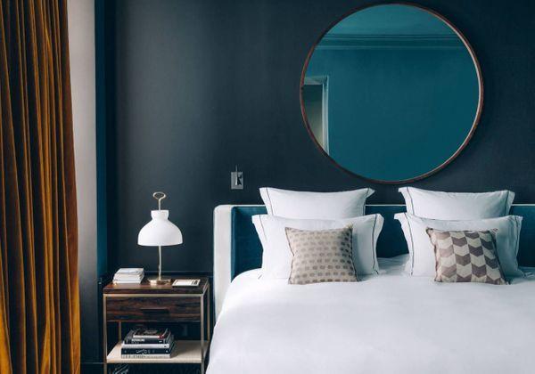 amenager chambre avec murs bleus