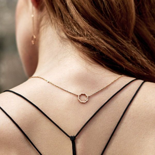 Necklace made of 18k rose gold and diamonds inspired from Chinese philosophy and art.
