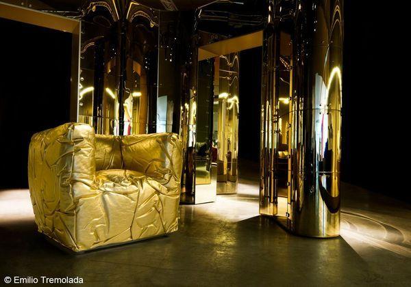 fauteuil sponge en or edra