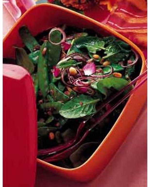 Salade de pois gourmands aux olives et aux pignons pour 2 - Cuisiner des pois gourmands ...