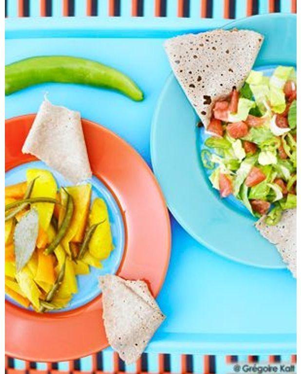 Le Ragoût Végétarien Ou Atkilt Wät Et La Salade éthiopienne Ou - Cuisine ethiopienne