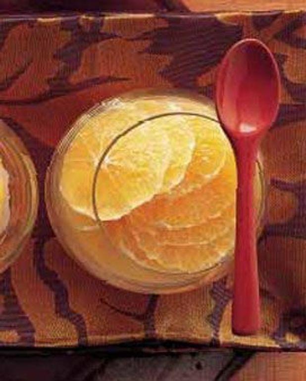 Sorbet mangue, salade de mandarines