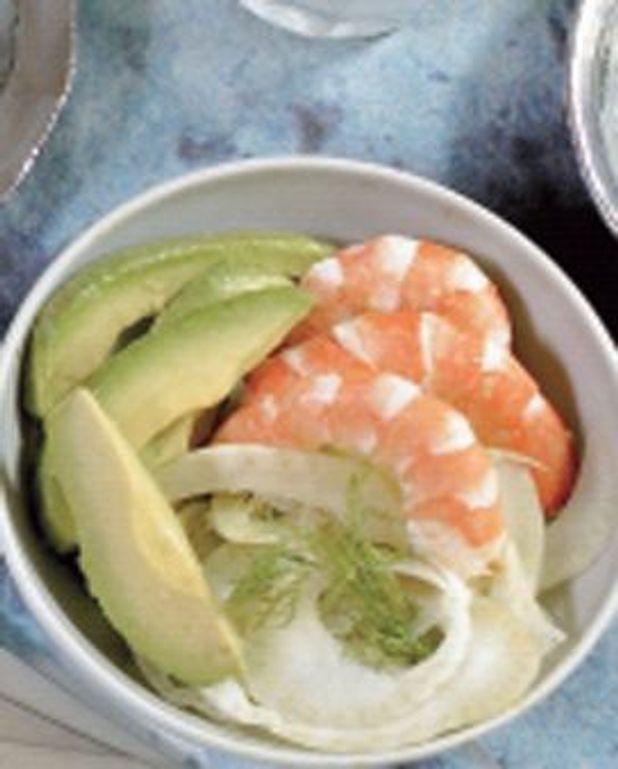Salade de crevettes, avocat et fenouil