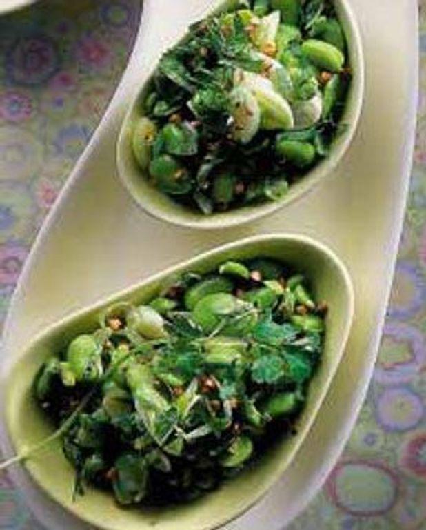 Salade de fèves, coriandre,