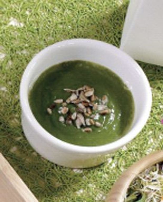 Soupe épinards courgettes, cumin