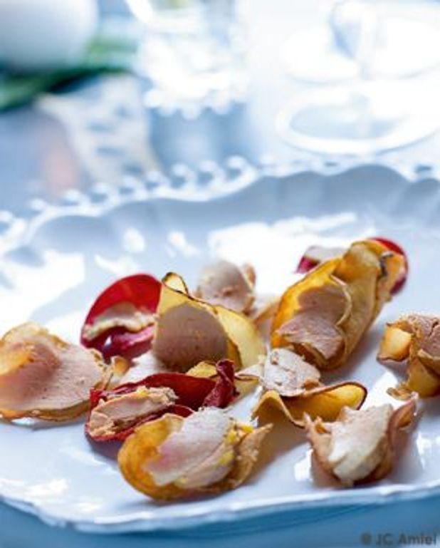 Chips de légumes au foie gras